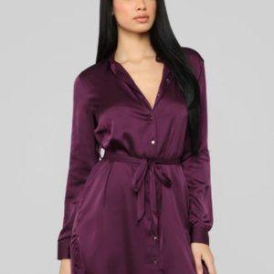 Purple Satin Button Up Dress   Fashion Nova
